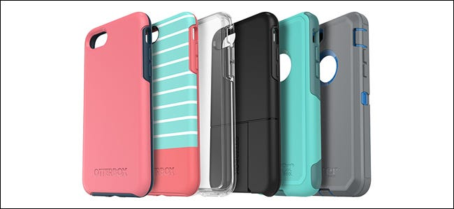 Six Otterbox phone cases in various colors and designs.