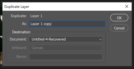 The Duplicate Layers box in Photoshop