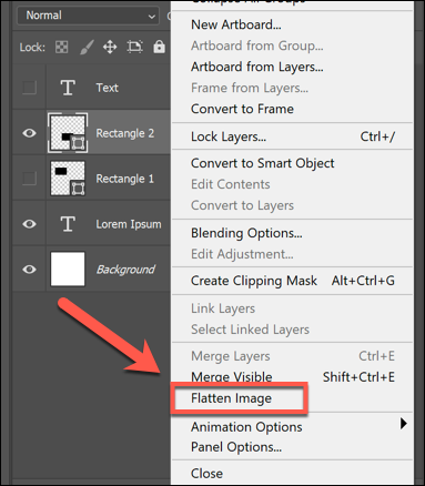 Right-click a layer and click Flatten Image to merge all layers together in Photoshop