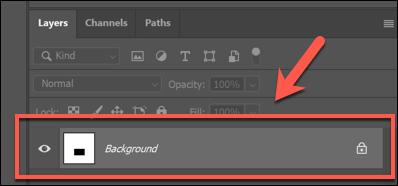 An example of a flattened image layer in Photoshop