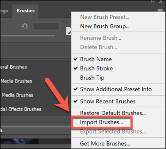 Press the settings menu option button in the Brushes panel, then press Import Brushes to begin importing new brushes