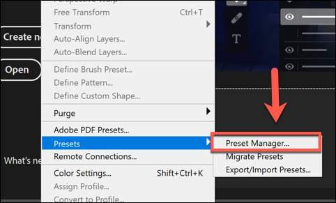 To load brushes in Photoshop, press Edit > Presets > Preset Manager.