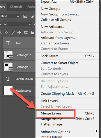 In the Layers options menu, press Merge Layers or Merge shapes