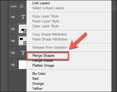 Right-click selected layers and click Merge Shapes or Merge Layers to merge them in Photoshop