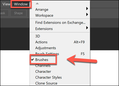 Press Window > Brushes to show the Brushes menu panel in Photoshop