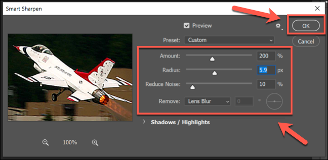 The Smart Sharpen filter options box in Photoshop, with various option sliders. Press OK to save