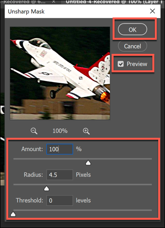 The Unsharp Mask filter options box in Photoshop, with various option sliders. Press OK to save.
