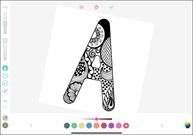 "The letter ""A"" in a pigment coloring app."