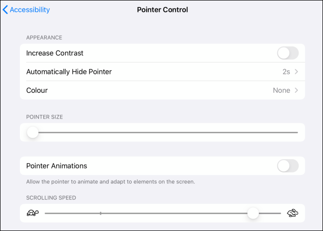 Pointer Control options for cursor on iPad