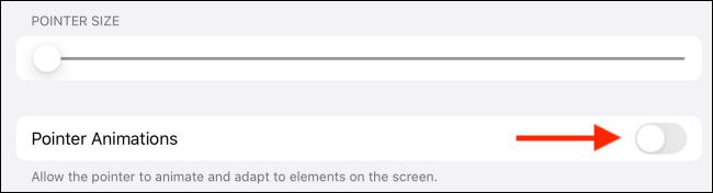 Pointer animations toggle for cursor on iPad