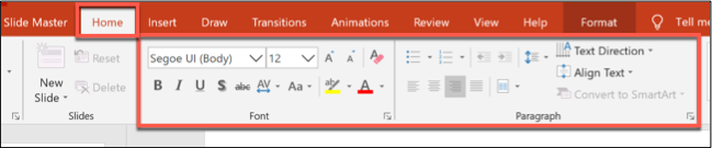 Formatting options in the Home tab in PowerPoint
