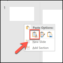 "Press the ""Use Destination Theme"" paste option to paste slides and apply the formatting of the open PowerPoint file to them"