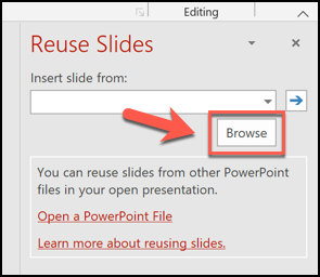 Click the Browse button in the Reuse Slides menu to begin copying slides from another presentation