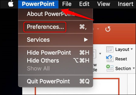 PowerPoint preferences