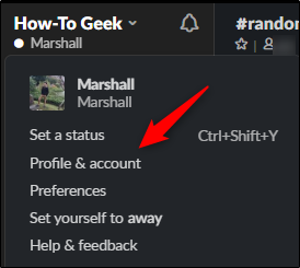 Profile & account option in dropdown menu