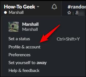 Profile & account option in dropdown menu