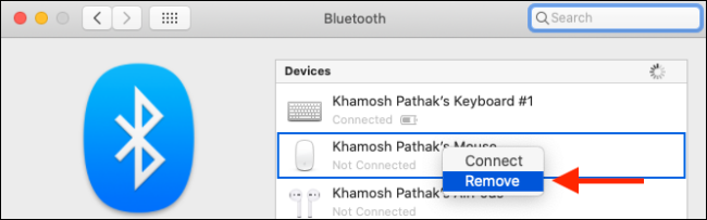 Remove Bluetooth device from Mac