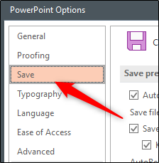 Save tab in Word Options window Office