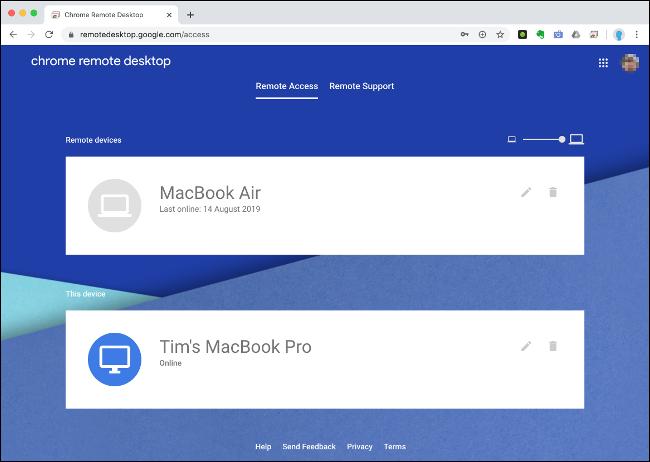 "The ""Remote Access"" menu on Chrome Remote Desktop."
