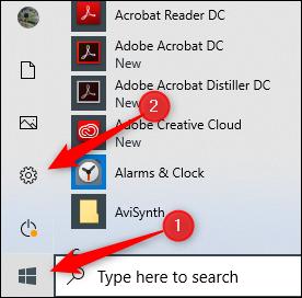 Settings icon in Windows 10