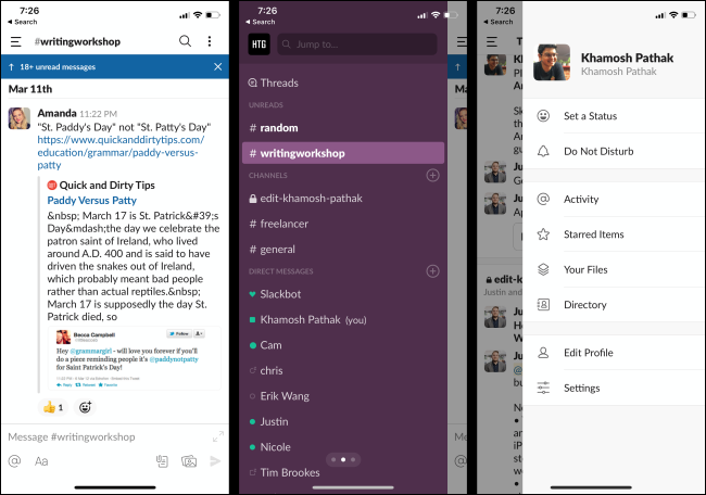 Unread messages, channels, and a profile in the Slack app on a phone.