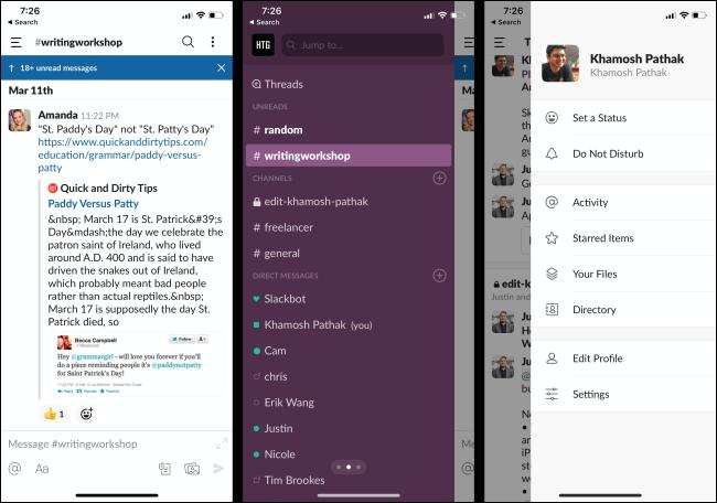 Mensajes, canales y un perfil no leídos en la aplicación Slack de un teléfono.