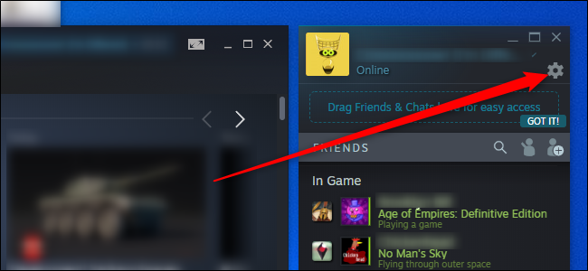 Steam Friends Settings Menu