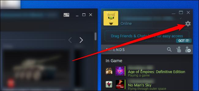 Steam Friends Settings Menu
