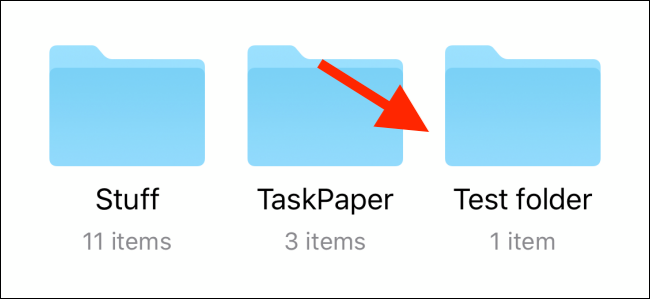 Tap and hold on the folder