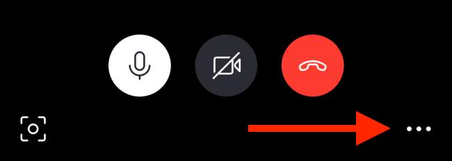 Tap menu button in call screen on iPhone