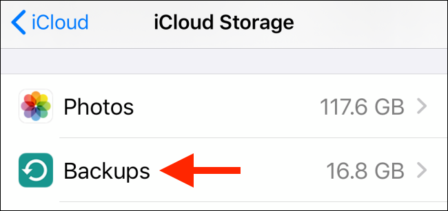 Tap on Backups from iCloud menu