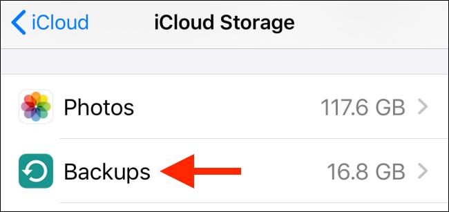 Tap on Backups from iCloud menu