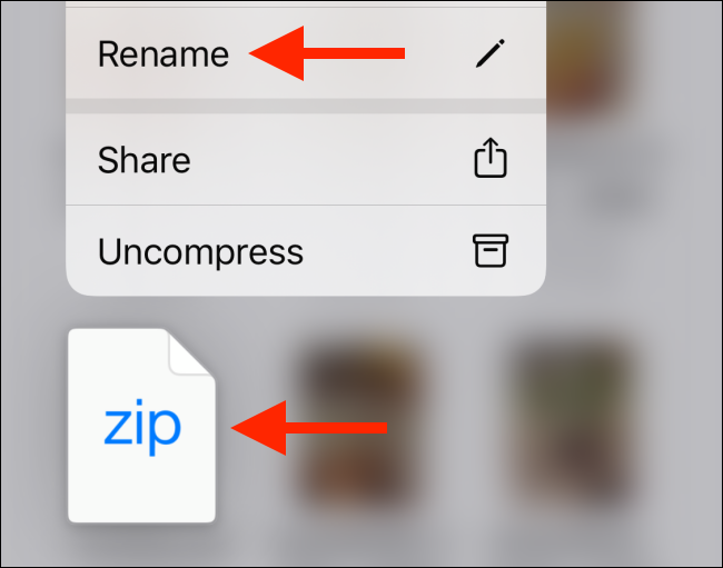 Tap on Rename option from zip file