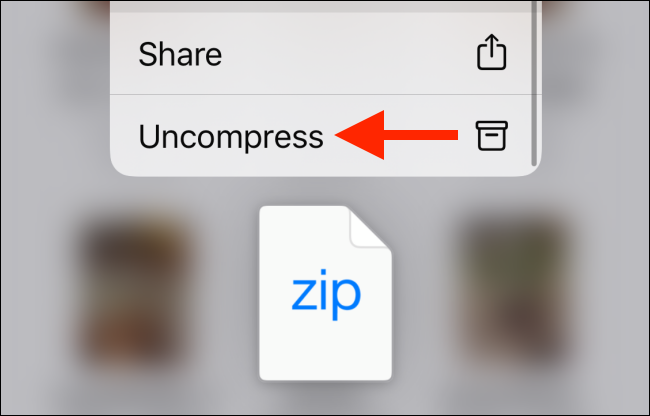 Tap on Uncompress