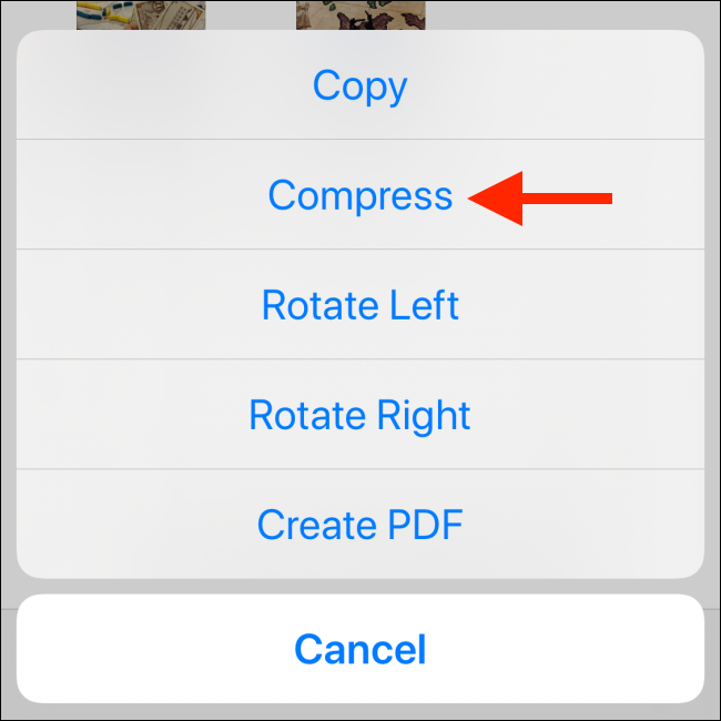 Tap on the Compress option from the menu