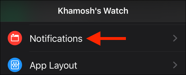 Tap the Notifications option from the Watch app
