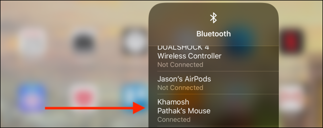 Tap on the device from Control Center to disconnect
