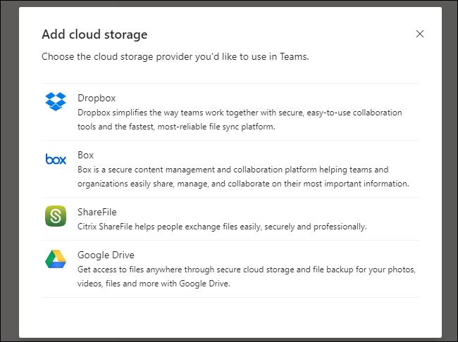 Teams Add Cloud Storage Menu