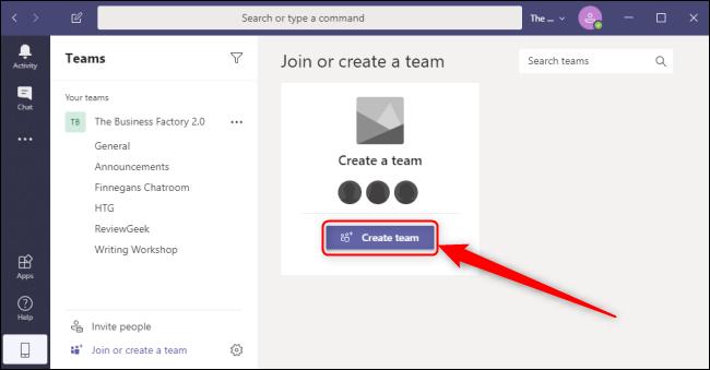 Teams Create Team Button