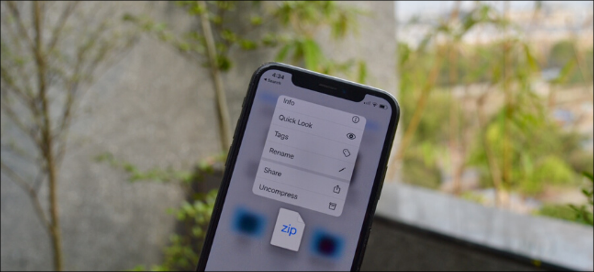 Uncompress feature showed in Files app for Zip files on iPhone