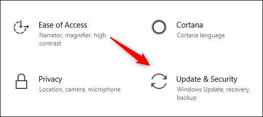 Update and security icon in Windows 10 Settings menu