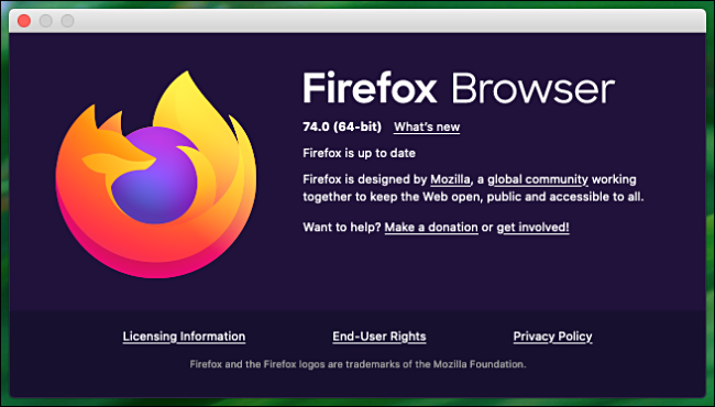 """The """"About Firefox"""" window on a Mac."""