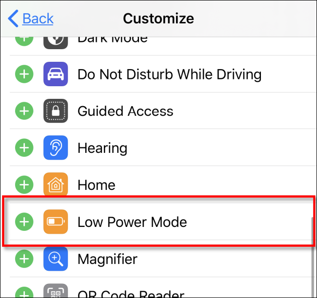 Add Low Power Mode to Control Center in iOS iPadOS