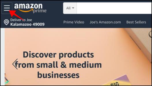 Amazon Prime Home Page