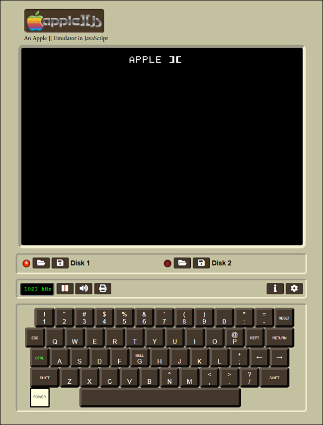 The startup screen in Apple ][js.