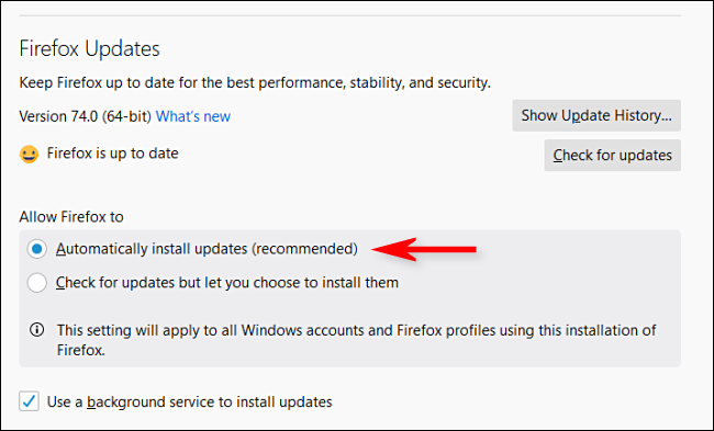 "Select the ""Automatically Install Updates"" radio button."