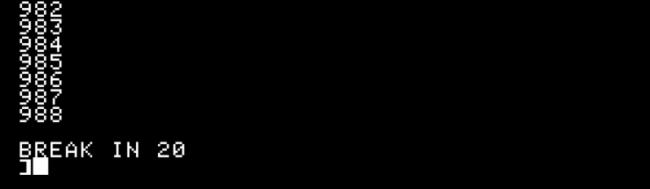 "A ""Break"" command in the counting program in Apple II."