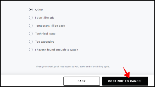 "Click ""Continue to Cancel."""