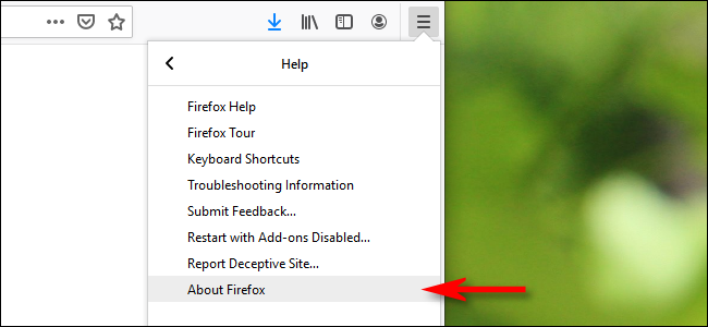 """Click """"About Firefox."""""""