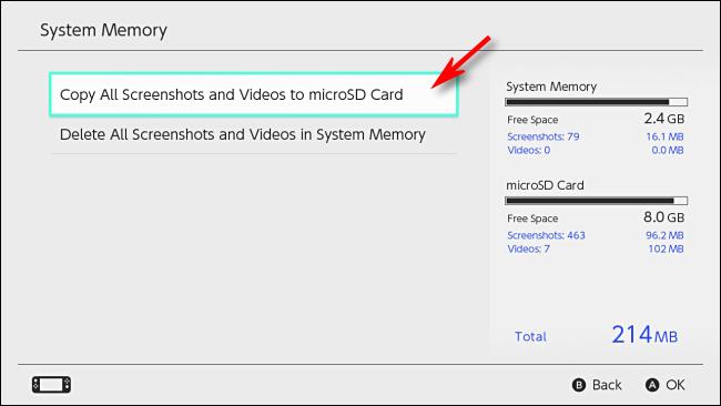 Copiar capturas de pantalla a la tarjeta microSD Nintendo Switch